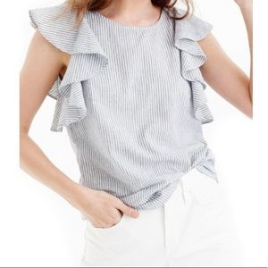 J. Crew Linen Blend Ruffle Top In Stripe